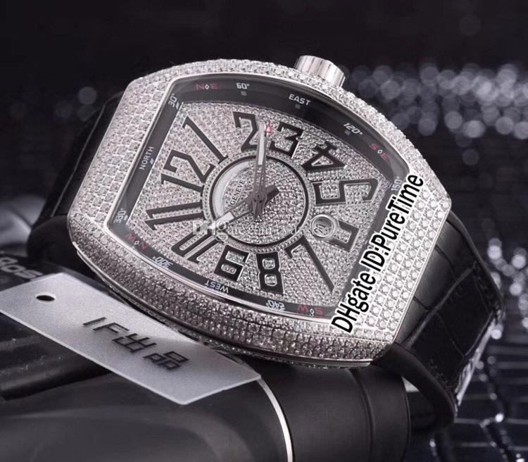 Новый Vanguard V45 SC стальной Алмазный корпус Алмаз большой арабские цифры циферблат Miyota 9015 автоматические мужские часы черный резиновые кожаные часы 133a1