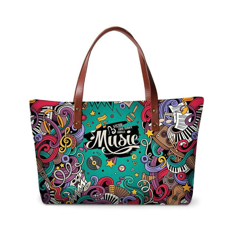 Famous Brand Designer Women Handbags Musical Note Printing Travel Shoulder Bag For Teenage Girls Summer Beach Bags Lady Wedding Party Totes