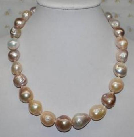 Classic 11-13mm Natural Pearl Necklace South Sea Baroque Gold Pink Beaded Necklaces 18inch 14k Gold Clasp
