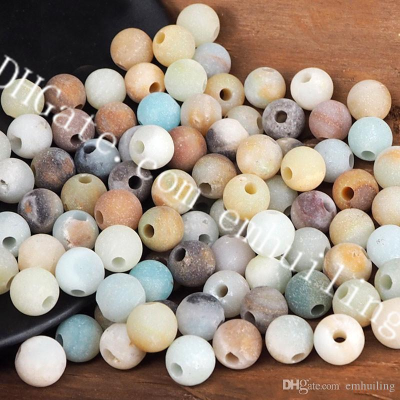 50Pcs 10mm Mixed Random Color Frosted Natural Amazonite Beads Yoga Meditation Mala Beads Matte Round Gemstone Beads Jewelry Making Supplies