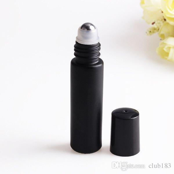 Heißer Verkauf 10 ml Rosa / Schwarz / Grün Glasrolle auf Flasche Leer Duft Parfüm Ätherisches Öl Flaschen mit Metallkugel Roller schwarz Kunststoff-Kappe