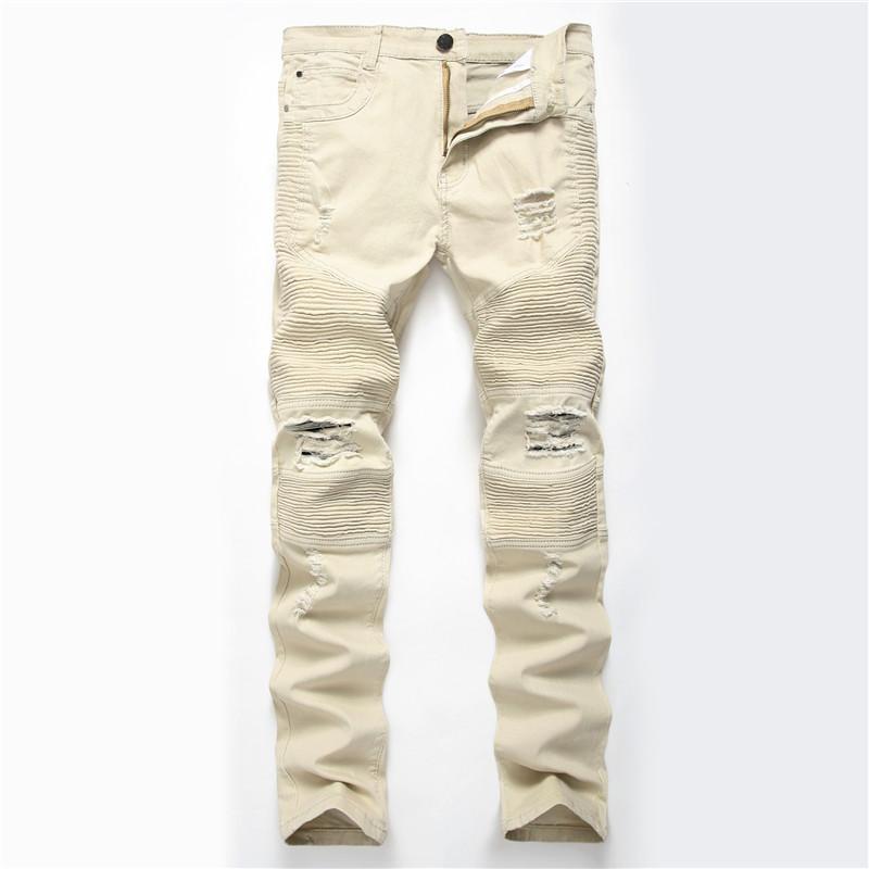 Erkekler Yırtık Kot Biker İnce Skinny Elastik Casual Moto Denim Pantolon Hip Hop Pileli Mavi Haki Erkekler Jeans Artı Yıkanmış