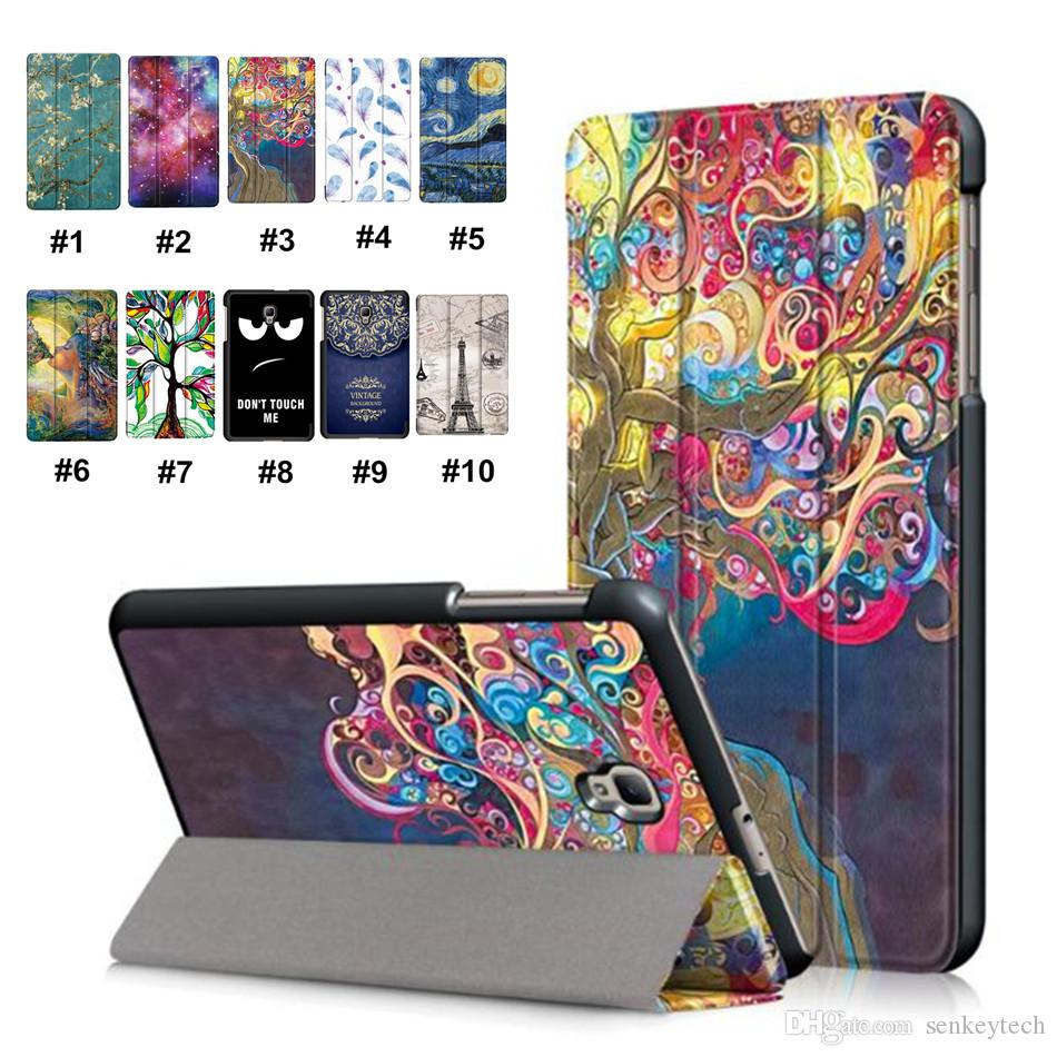 Luxury Colorful Painting Tablet Case Ultra Thin Magnetic Folding Stand PU Leather Protective Tablet Cover for Samsung TAB 8.0 2017 T380 T385