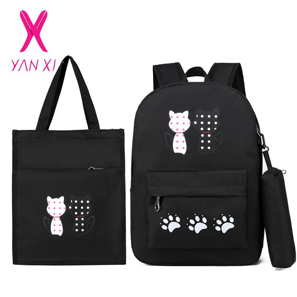 Großhandel 3 stücke Niedlichen Tier Druck Rucksack 2018 Neue Frauen Rucksack Schultaschen für Frauen Teenager Mädchen Composite Set Bookbags