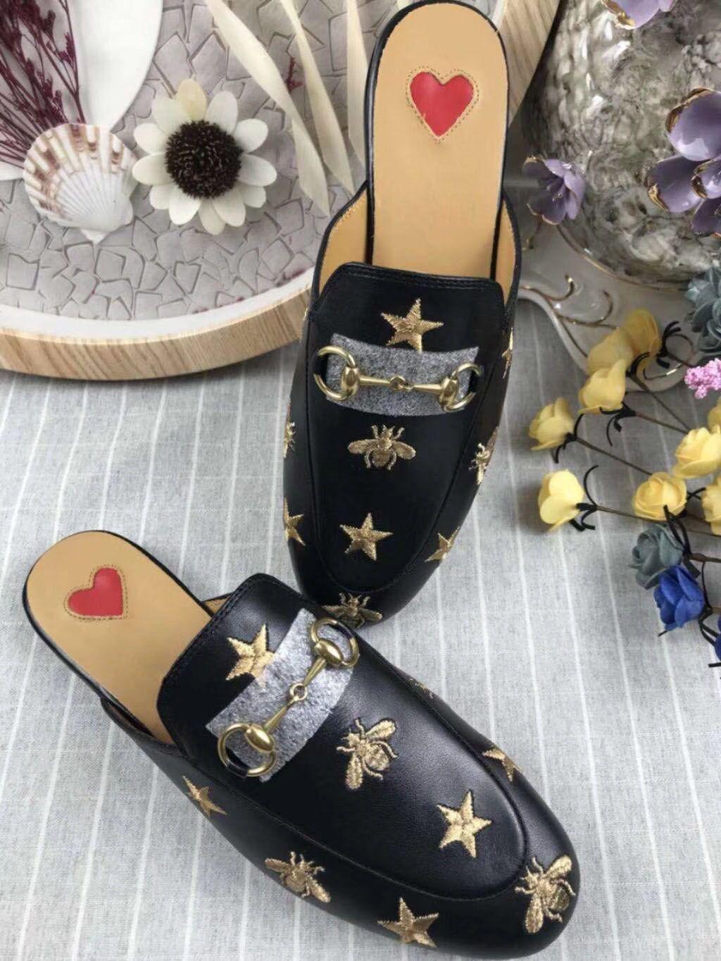 Chaussures de pantoufle imprimées en cuir de haute qualité pour femmes Princetown, semelle en cuir, détail de mors, taille 35-41, livraison gratuite