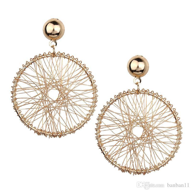 Vintage Gold Circle Stud Earrings for Women Earing Indian Jewelry Tassel Statement Double Sided Earring Female Pusety in Ears