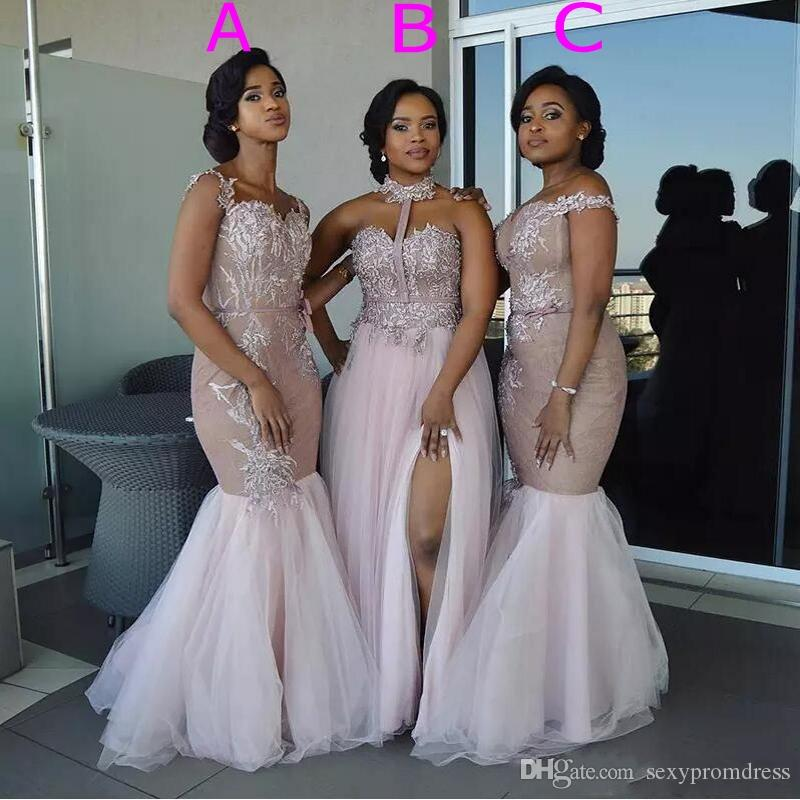 Mixed Style Mermaid Bridesmaid Dresses Pink Off Shoulder Appliques Split Layered Tulle Maid of Honor gowns for wedding Floor Length dress