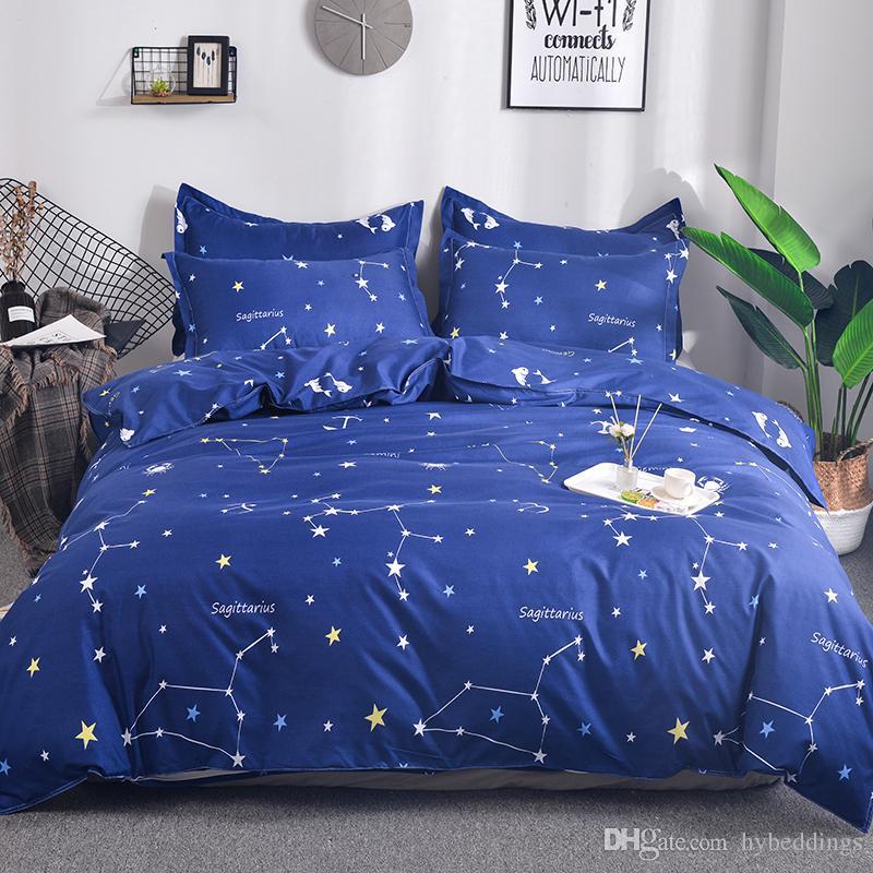 Constellation Print Blue Duvet Cover Pillow Case King Queen Full Bedding Sets