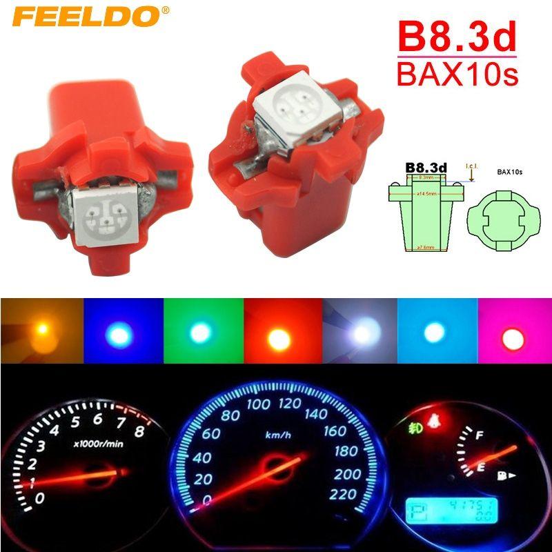FEELDO 10PCS Multi-Color 12V DC B8.3D / BAX10S 5050 SMD Gauge Dashboard Car LED Light Interior Lamp # 4066