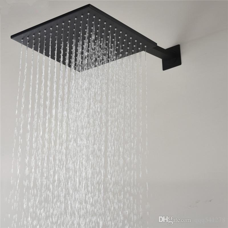 블랙 브래스 Rainfall 샤워 헤드 12 인치 욕실 수도꼭지 교체 헤드 욕실 천장 마운트 광장