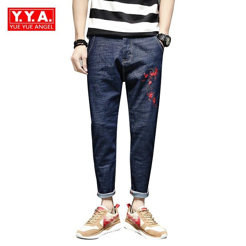 2018 Primavera New Folk Floral Bordado Calça Jeans Para Homens Soltos Hip Hop Denim Harem Pants Plus Size 28-40 Casuais Grandes Calças Dos Meninos