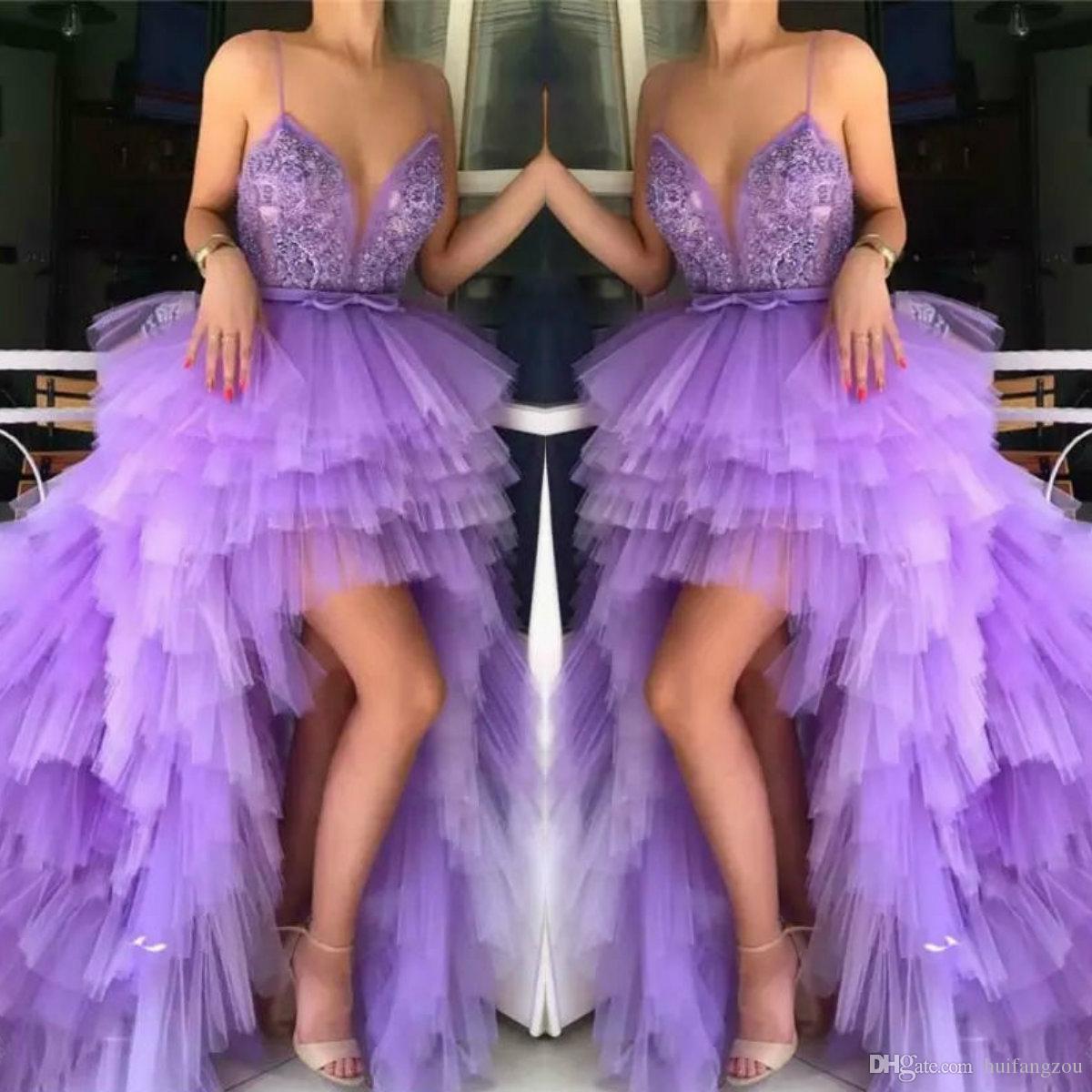 2019 Hola Lo Spaghetti Vestidos de baile Apliques de encaje Vestido de noche atractivo moldeado Tul con gradas Vestidos de fiesta formal personalizados