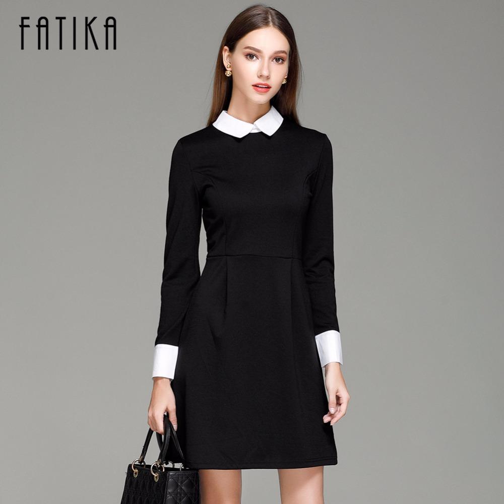 ingrosso moda autunno inverno elegante vestito casual da donna sottile colletto del collare di Peter pan manica lunga abiti neri per le donne