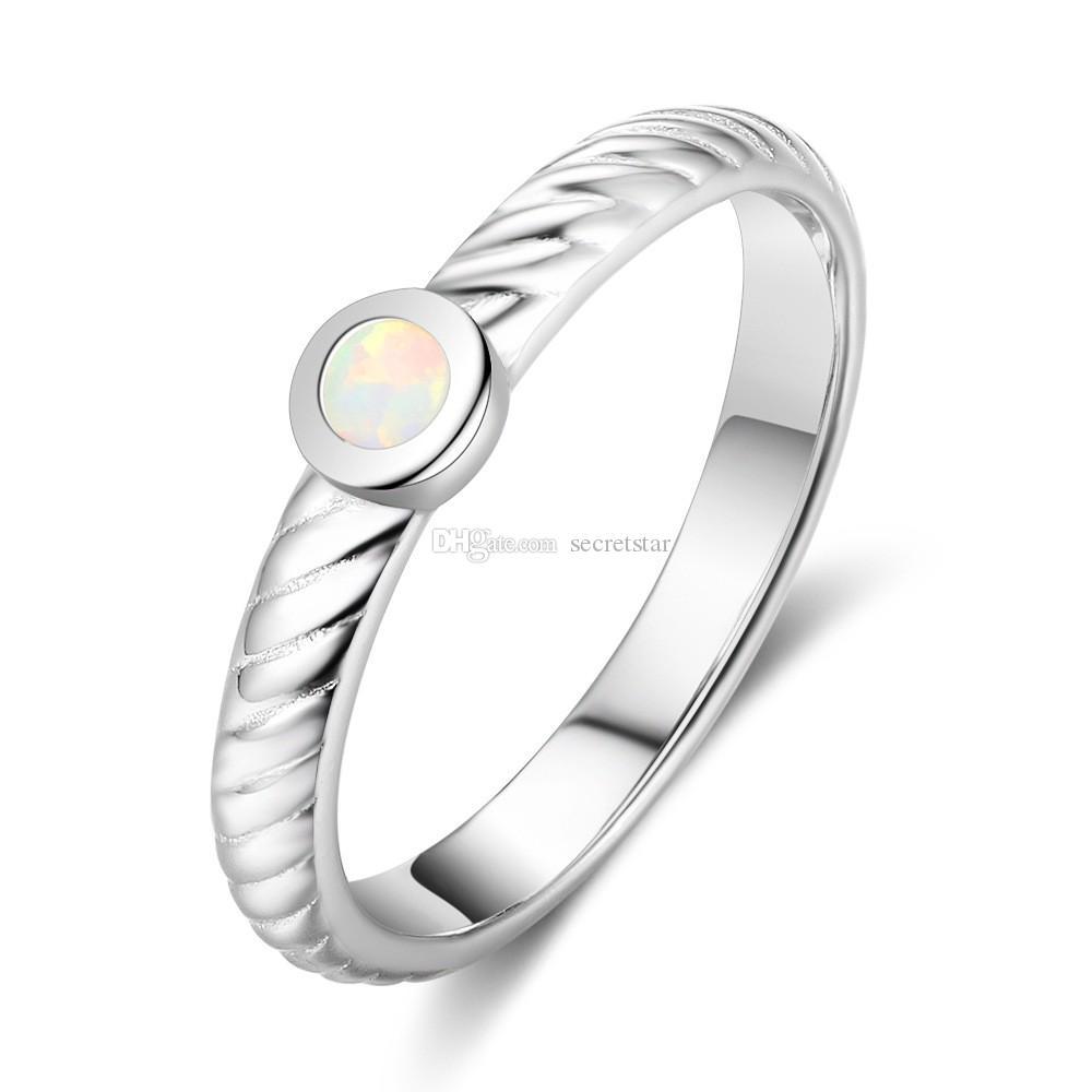 Горячие оптовой продажи Мода стерлингового серебра 925 красочные опал кольцо для девочек