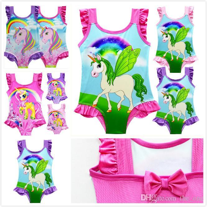 8 Stilleri Çocuklar Büyülü Unicorn Mayo Çocuk Karikatür Baskı Tek Parça Yaz Beachwear Çocuk Mayo Dantel Sling Bebek Kız Mayo