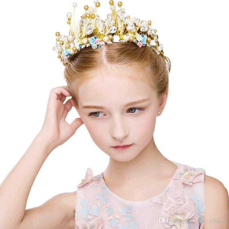 2018 Vintage Pearls Crystals Flower Girls Crowns Cheap Beautiful Little Girl Pageant Crown Fashion Christmas Gifts C14