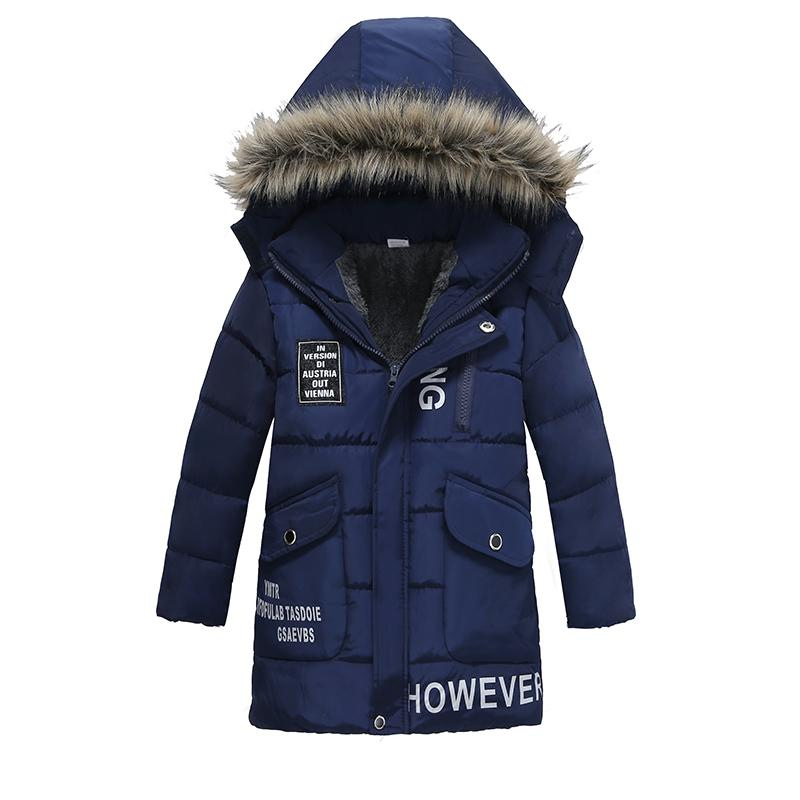 Warm Thickening Winter Fur Collar Child Long Coat Children Outerwear Windproof Big Boys Girls Jackets For 3-8 Years Old