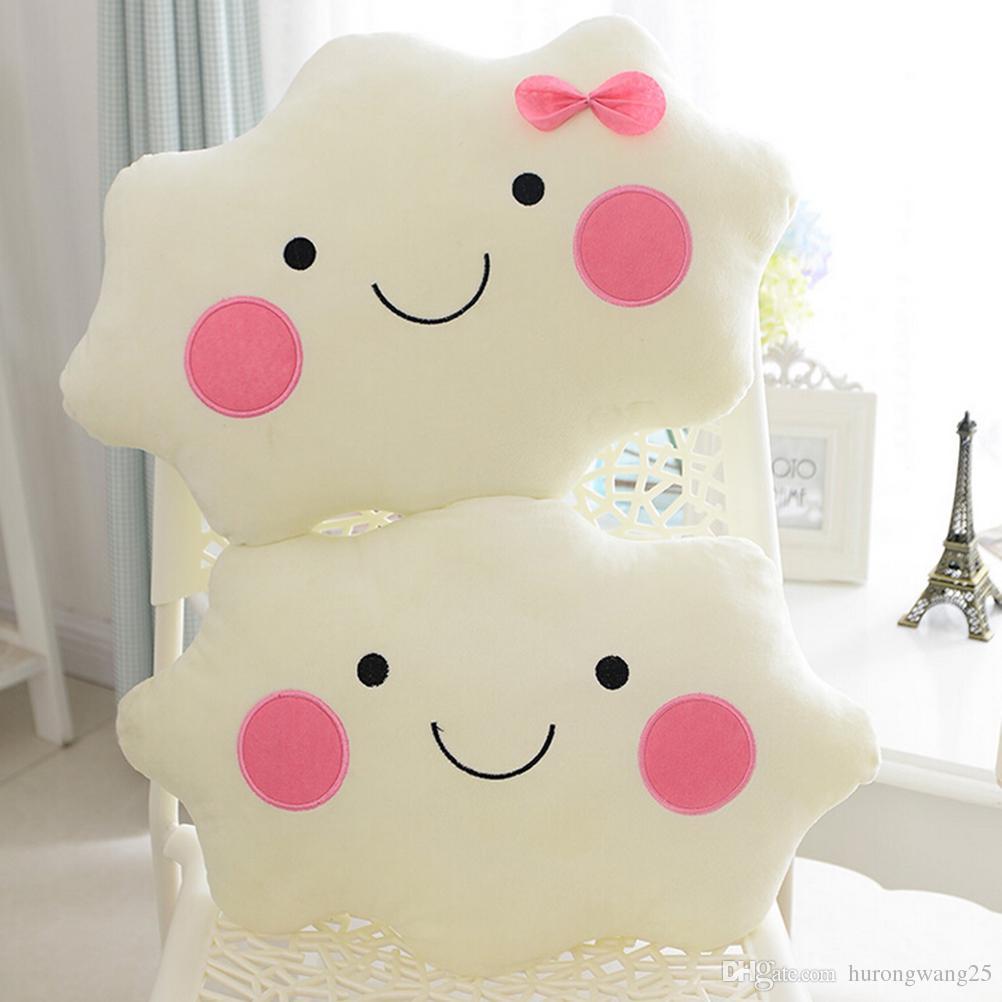 Nettes Kawaii weiches Plüsch SmileFace Bogen-Wolken-Kissen 100% Baumwolle angefülltes Rückenkissen Sitzkissen Weihnachtsgeschenke Plüschtier