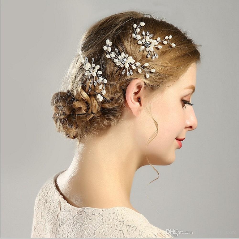 10pcs / lot à la main en métal argent feuille en forme de U en épingle à cheveux perle cheveux diadème pour les femmes en cristal clair pince à cheveux coiffure de fête de mariage postiche