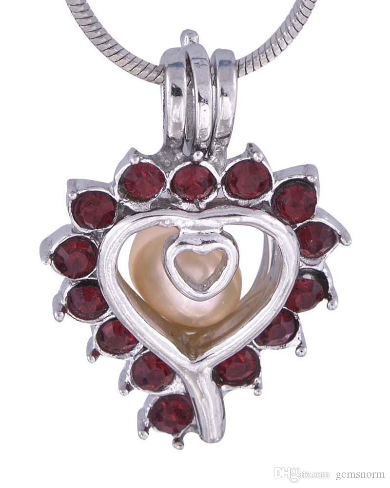 Heart Type Wish and Love Pretty Hollow Heart fit crystal Ballon with diamonds Wish Love Pearl Cage Pendant DIY P40