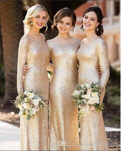 Длинные рукава русалка золотые блестки платья подружки невесты длинные африканские горничные платья честь платья вечеринка платья выпускного вечера 2018