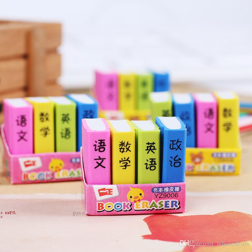 4PCS/Pack Book Style Eraser School Office Learning Pencil Erase Stationery Supplies for Kids Gifts Color Random