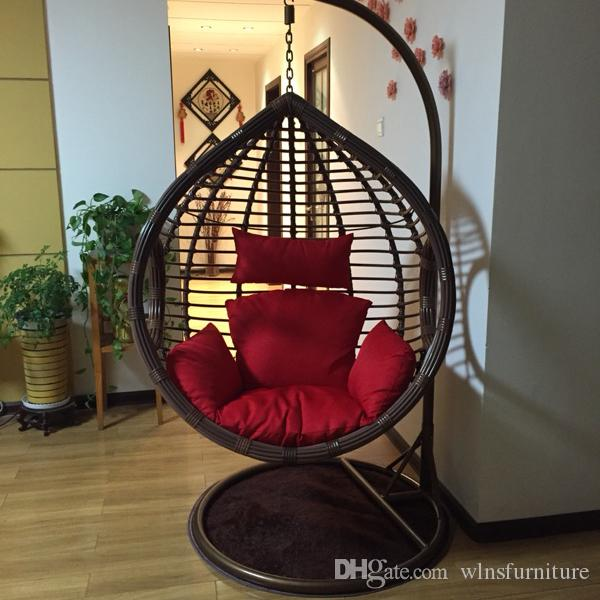 Rough rattan livingroom bedroom balcony hanging chair swing rocking leisure chair with armrest and Pedal footrest