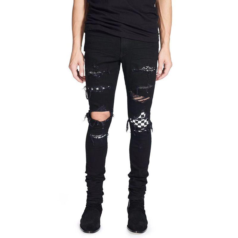2018 High Street Fashion Men's Jeans Black Color Destroyed Hip Hop Jeans Men Broken Punk Pants Patch Skinny Ripped For Men