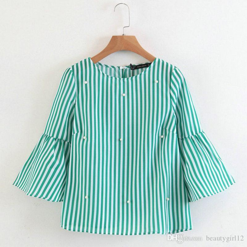 2018 New women elegant pearls beading striped shirt flare sleeve O neck Blouses ladies summer brand casual tops Tees