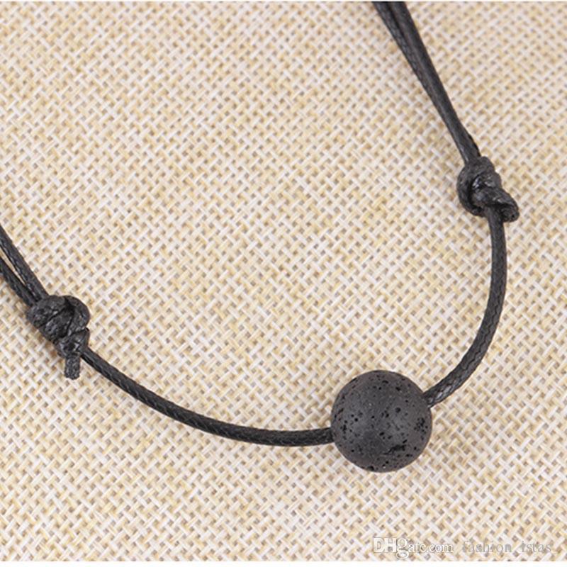 8mm Collar de Lava Negro Granos de Piedra Aromaterapia Aceite Esencial Difusor Perfume collar de cuero sintético Joyería de Las Mujeres