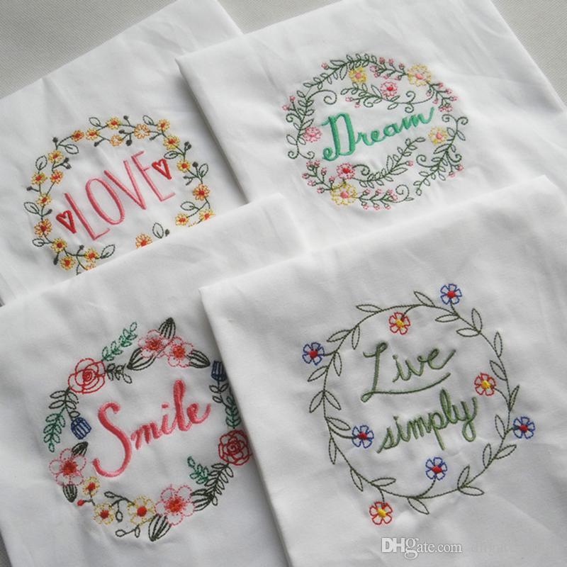 120 pezzi / lottp 45 * 70 cm ricamo super-assorbente in cotone tovagliolo tovagliolo di vetro wedding serviette uso cucina fazzoletto