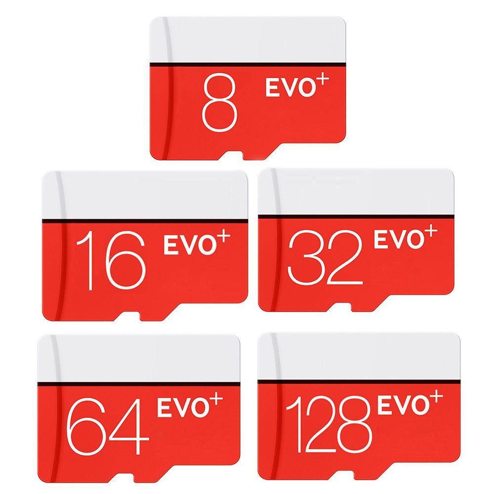 2019 حار أبيض أحمر EVO Plus + 256GB 128GB 64GB 32GB 16GB 90MB / s TF بطاقة ذاكرة فلاش فئة 10 مع حزمة SD محول نفطة مع شعار
