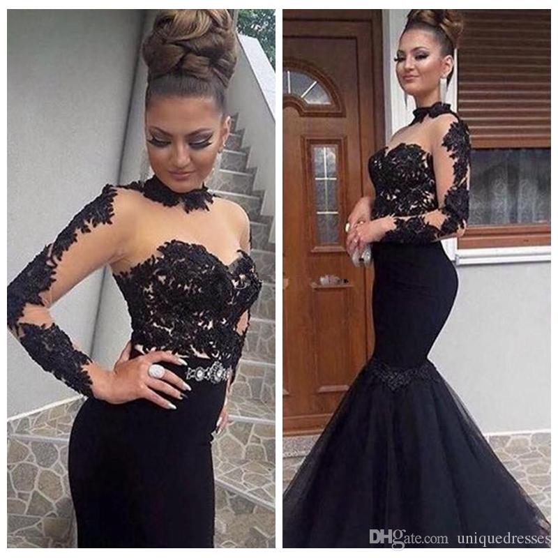 Black Stylish High Neck Prom Dresses Long 2018 Sexy See Through Mermaid Long Evening Party Gowns Lace Appliques Long Sleeves Formal Occasion