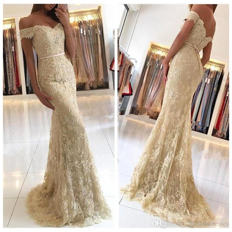 2021 Hombro Apliques Champagne sirena del cordón vestidos de baile de encargo formal del vestido de noche del partido longitud del piso vestido de festa Partido Vestidos