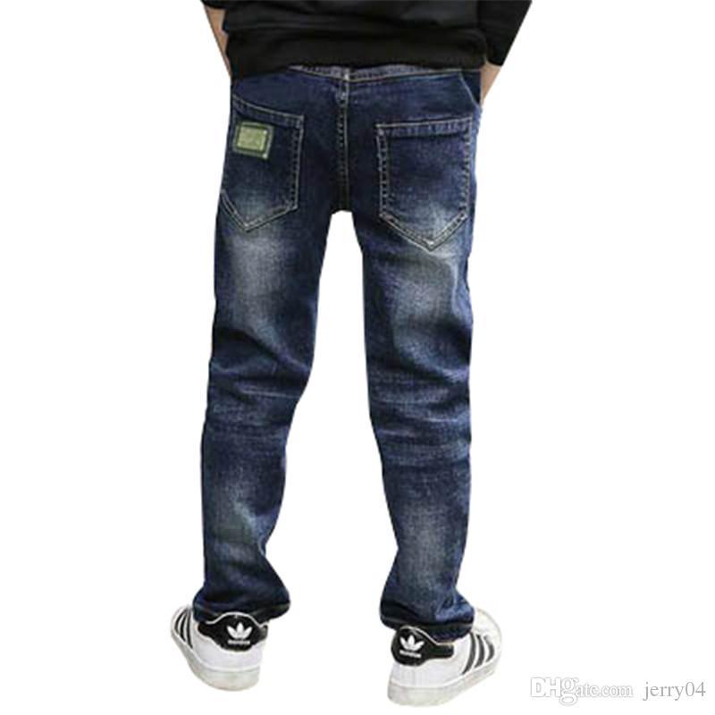 키즈 소년 데님 청바지 새 도착 2018 가을 탄력있는 허리 스트레이트 아동 바지 캐주얼 스키니 키즈 솔리드 바지 Clothes