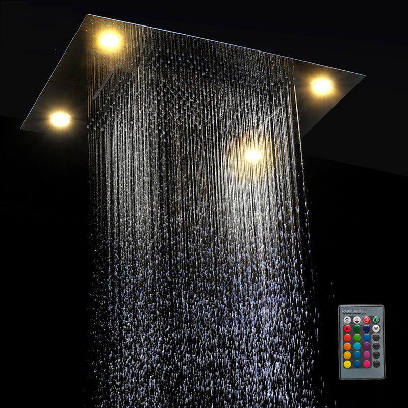 Multifunção chuveiro levou luz cabeça 600 * 800mm do teto Rain Shower remotos Chuveiros LED Controle chuvas Cachoeira massagem