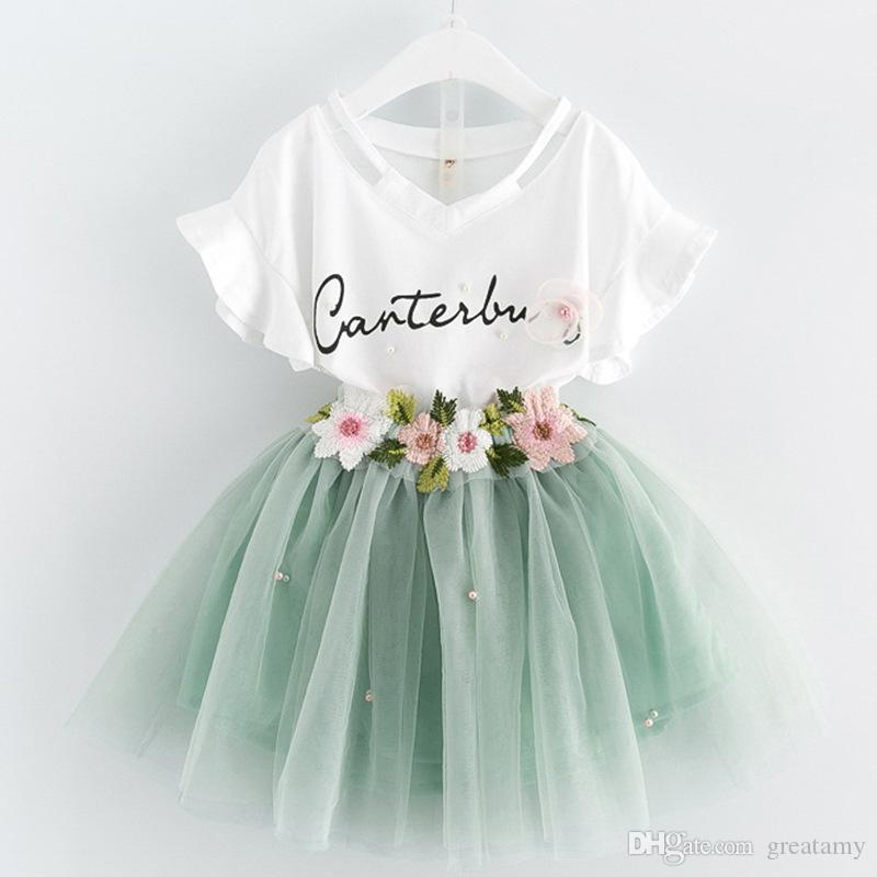 2018 new baby girls summer dress suits V-neck pearl T-shirt tops+flower tutu skirts 2pcs clothing sets princess outfits outwear