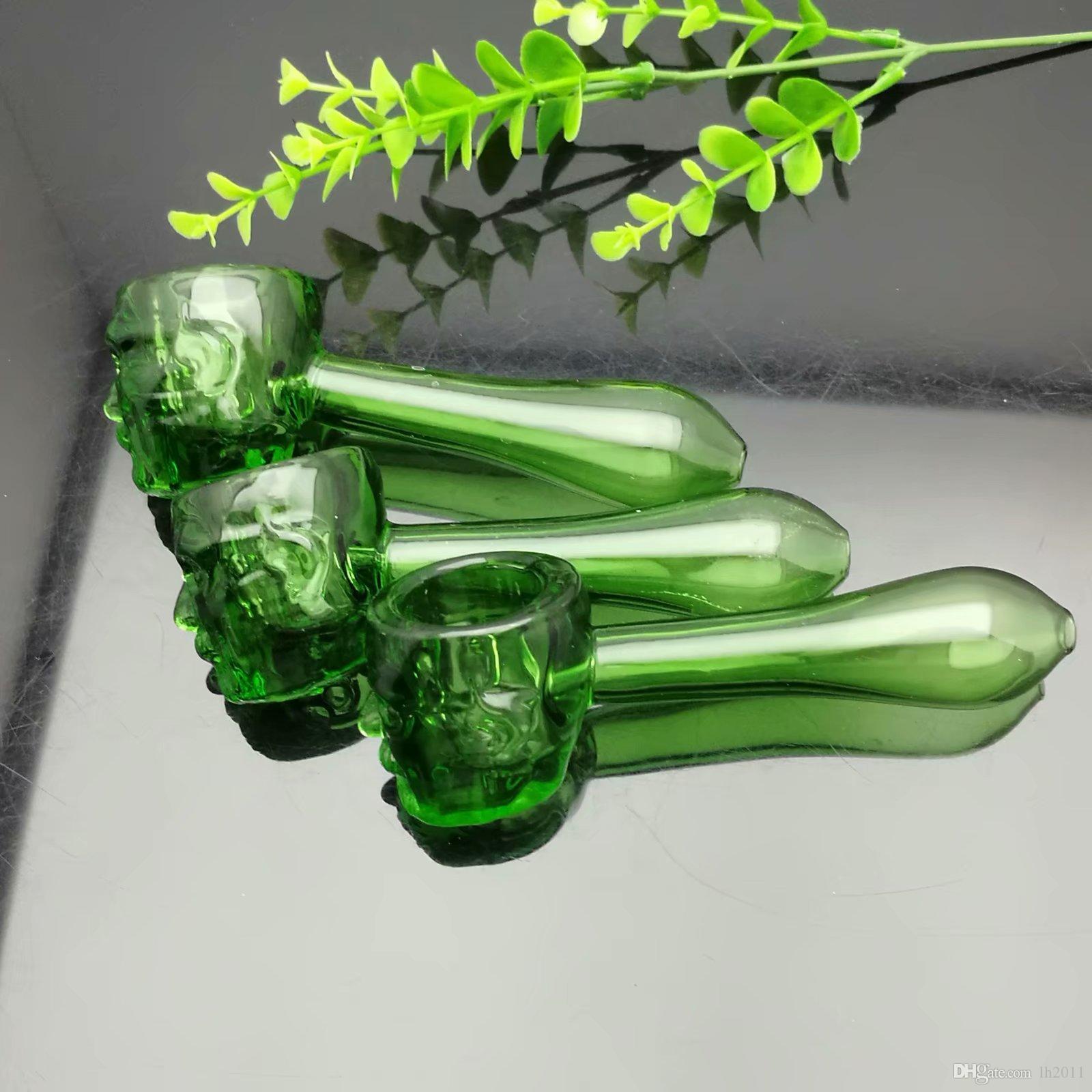 Nuevo fantasma verde tubo de vidrio Bongs de vidrio Quemador de aceite Vidrio Tubos de agua Plataformas petroleras No fumar