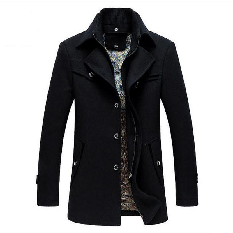 Trench Coat Homens Inverno Grosso Blusão Casaco de Lã Casaco Casaco Masculino Jaket Mens Jaqueta de Lã Trench Casacos Longos