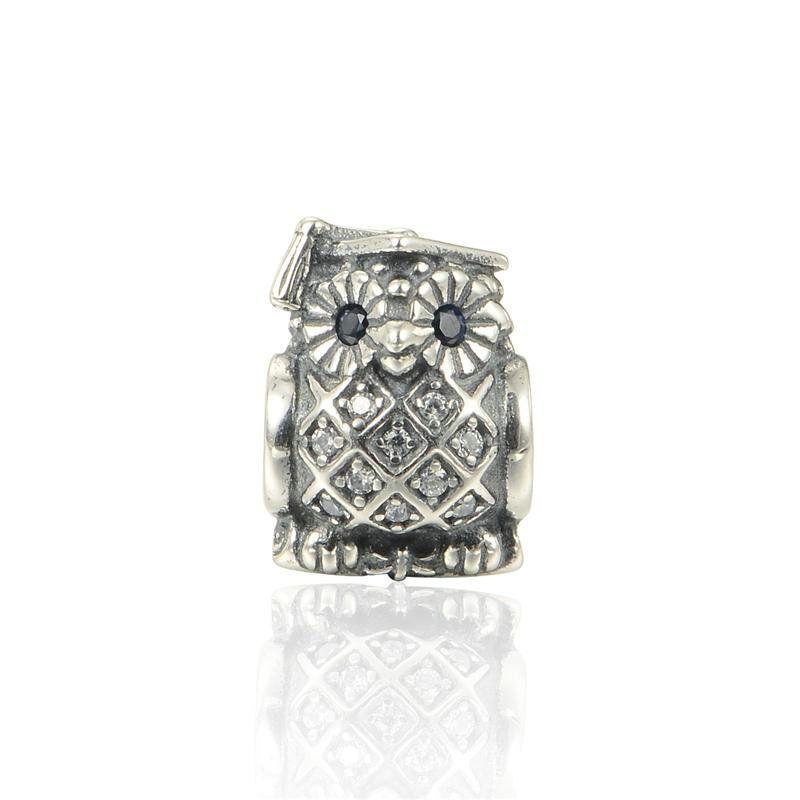 5 pcs/lot Owl charms beads graduation S925 sterling silver fits pandora style bracelets 791502NSB H9