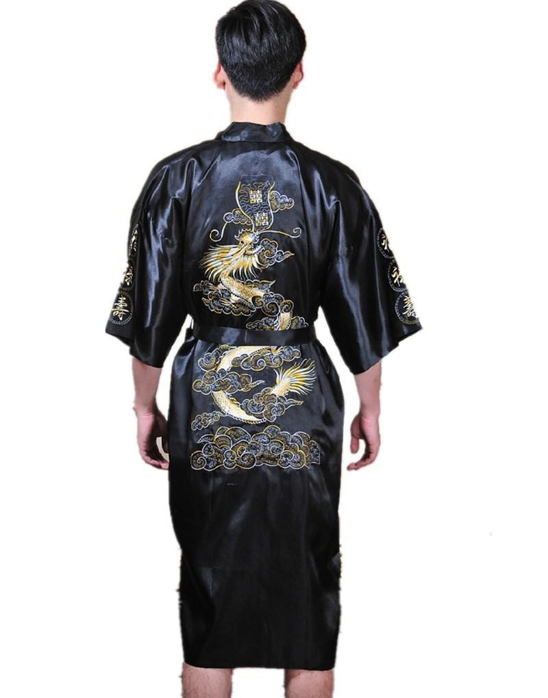 Shanghai Story Chino para hombre Satén Poliéster Bordado Bata Kimono Camisón Dragón Ropa de dormir M L XL XXL 3XL