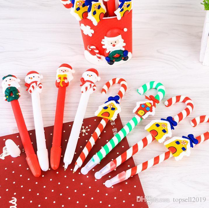 Cute Christmas Snowman Ceramic Ball Pen crutches Cartoon Christmas Santa Claus Ballpoint Office School Stationery SN1254
