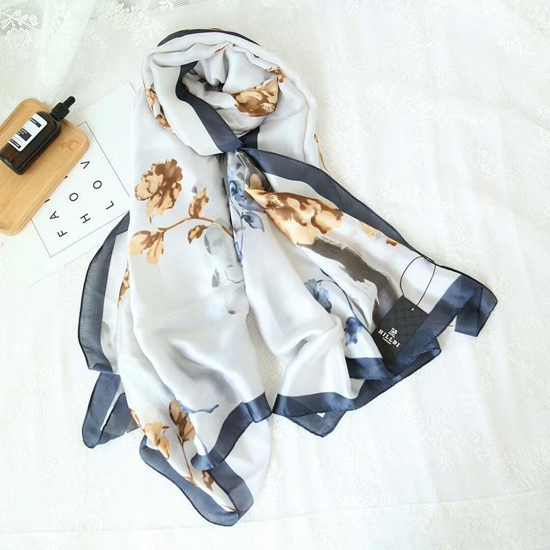 2018 estilo chinês tinta de tinta novas flores de impressão feminina lenço de cetim de seda 180 * 90 de verão protetor solar sarja lenço de seda das mulheres cachecol longa seção