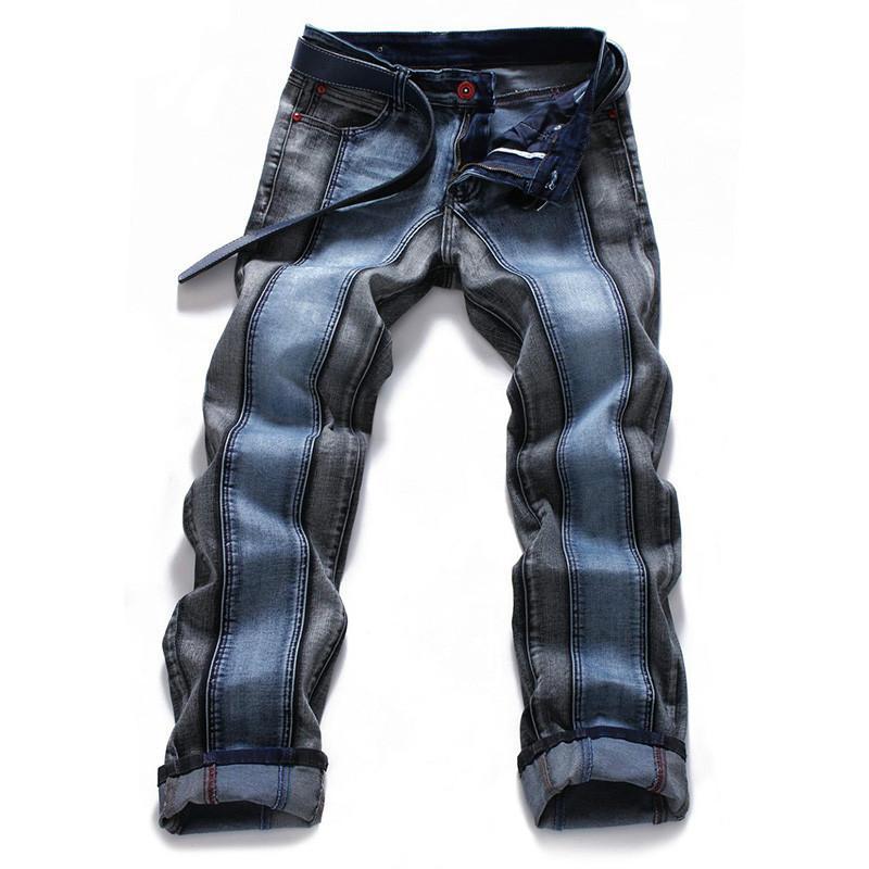 2018 Mens Harajuku Stripe Denim Jeans Casual motociclista Magro Hetero Pants Men Blue Designer Splice Jeans 42 44 46 Plus Size