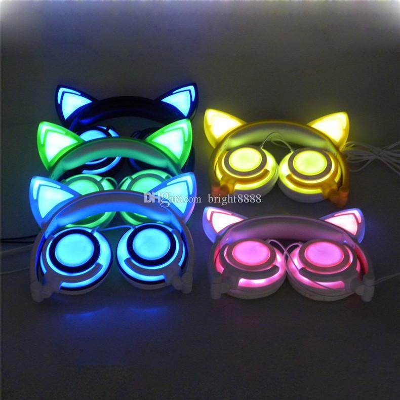 New rechargeable Cat Ear headphones Fully LED Lighting Kitty cats earphone Flashing bear Cosplay Headset Gaming Earphones for Adult and kids