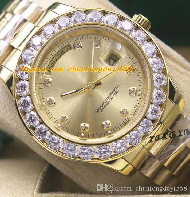 Luksusowe zegarki Męskie 18k Yellow Gold 4 Kolor Większy Diamentowy Dial Oglądaj 18338 Automatyczne Moda Zegarek Męski Zegarek