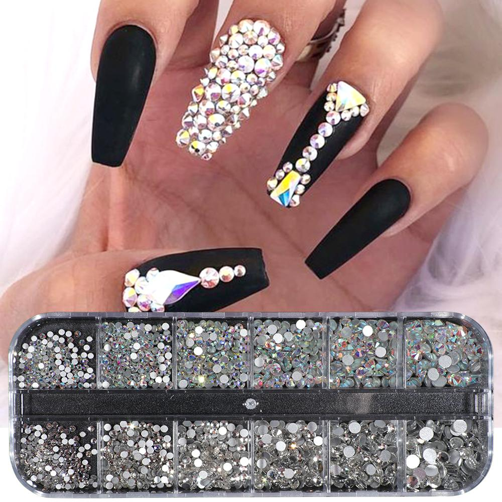 Compre 1 Caja De Diamantes De Imitación De Uñas Ab Clear Crystal Strass 3d Encantos De Uñas Espalda Plana No Hotfix Gemas Escamas Decoración De