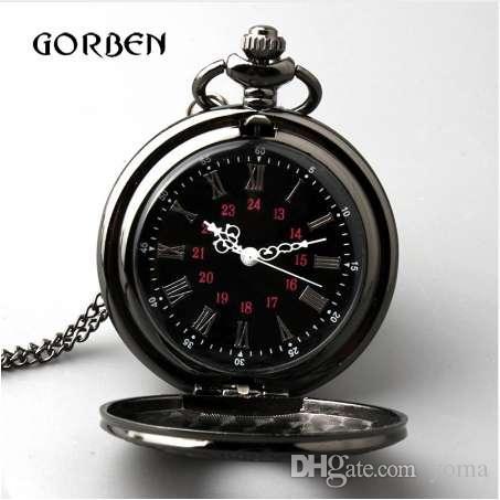 레트로 청동 빈티지 포켓 시계 목걸이 체인 펜던트 블랙 앤티크 Steampunk 망 쿼츠 포켓 시계 Relogio De Bolso New