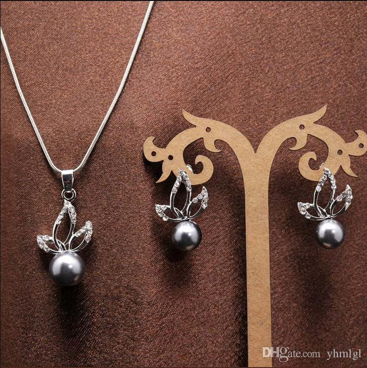 Бесплатная доставка мода Новые горячие женские 18K платиновые покрыты серыми цветами жемчужина австрийские кристалл ожерелье серьги ювелирные изделия наборы свадьбы