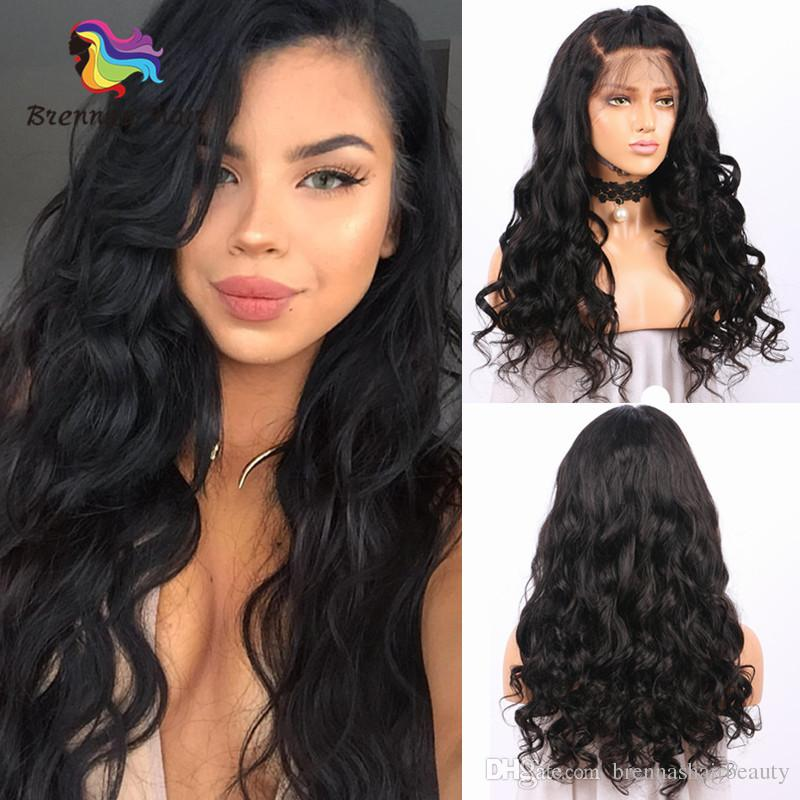 E-Packet Free Shipping Loose Wave Long Human Hair Lace Front Wigs 1B Wavy Virgin Remy Parting Hair for African American